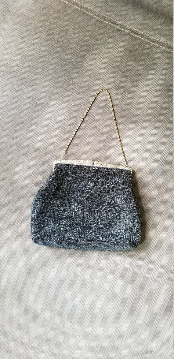 Vintage Silver Beaded Satin Purse/Handbag/Evening/