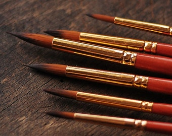 Set of  6 pointy paint brushes  - sizes  2, 4, 6, 8, 10, 12  - watercolor brushes - high quality paint artist brush