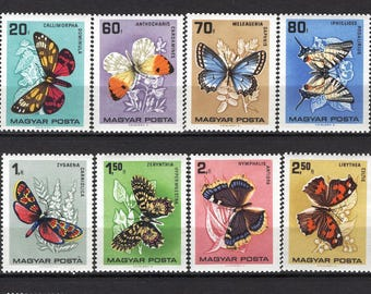 Vintage Butterfly Stamps from Hungary - 1966 Postage for Collage, Art Projects, Decoupage, to Frame, Greeting Cards, ATCs