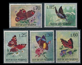 5 Gorgeous 1963 Butterfly San Marino Postage Stamps / Nature Collage, Junk Journal, Scrapbook, Mixed Media, Artist Trading Card, Cardmaking