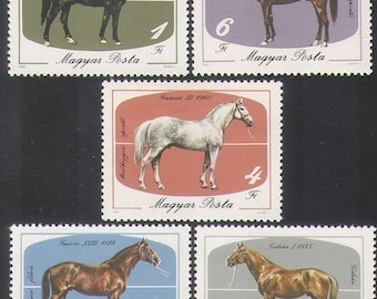 Beautiful Horse Postage Stamps / 1985 Hungary, Set of 5 / Equestrian Artist Trading Cards, Farm Collage, Horse Racing Altered Book, Pony ATC
