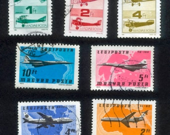 Aeroplane Postage Stamps from Hungary / Airplane, Jet and Biplane for Collage, Decoupage, Graduation Card, Bon Voyage Gift, Arts and Crafts