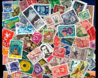 100 Different Worldwide Postage Stamps / Arts and Crafts, Altered Books, Collectors, Collage, Artist Trading Cards, Junk Journal / Mixed Lot