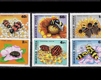Beneficial Insects on 1980 Postage Stamps / Flowers, Bumblebee, Dog Rose, Beetle, Sunflower, Minstrel Bugs, Yarrow, Shield Bug, Parsley