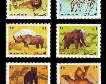 Wild Animals on 1969 Ajman Vintage Postage Stamps / Lion, Zebra, Elephant, Rhinocerous, Camel, Bear / Kids Craft Supply, Collage Images, ATC