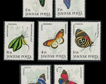 Colourful Butterflies on 1984 Hungary Postage Stamps / Perfect for Handmade Cards, Gift Tags, Junk Journal Pages, Glue Books, Altered Art