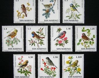 Gorgeous San Marino Bird Postage Stamps / Vintage Small Songbirds on Flowers / Bullfinch, Warbler, Bluethroat, Bunting, Sparrow, Blue Tit