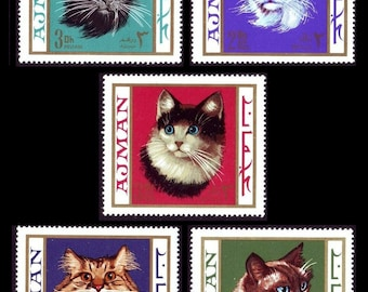 Gorgeous Cats on Colourful Backgrounds / 1968 Ajman Vintage Postage Stamps / Scrapbook Addition, Gift Card Embellishment, Cat Lover Gift