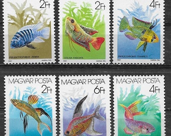 Colourful, 1987 Aquarium Fish Postage Stamps / Kids Crafts, Beach Party Invitations, Collage, Travel and Junk Journals, Handmade Cards, ATC