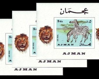1969 Ajman Postage Stamp Sheets with Zebra, Lion, Tiger / Africa Altered Book, Travel Journal, Safari Scrapbook Memories / Unused, Imperf