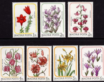 7  Flower Stamps from 1985 Hungary / Postage for Collections, Collage, Decoupage, Craft Projects, Frame for Home Decor / Lily, Lilies, MNH