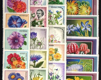Huge Collection of Flower Postage Stamps / 4 Series of Vintage Hungary / Garden Journal, Nature Buff Gift, Wildflowers and Garden Flowers