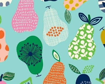 Turquoise pears organic cotton - Windham Fabrics Hand Picked Pears