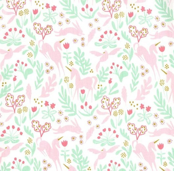 Pink Unicorns on Navy 100/% cotton fabric /'Magic/' from Michael Miller
