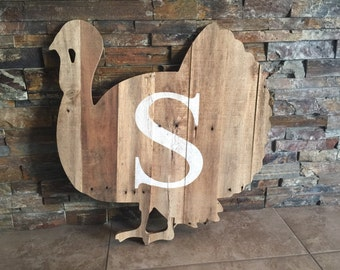 Thanksgiving Turkey Monogram Wooden Rustic Cut Out