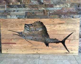 Distressed Sailfish Pallet Wall Art, Surf Decor, Beach Decor CNC Cut-Out Nautical Fishing