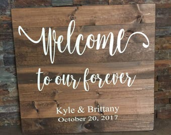 Welcome To Our Forever Hand Painted Wedding Wooden Rustic Sign