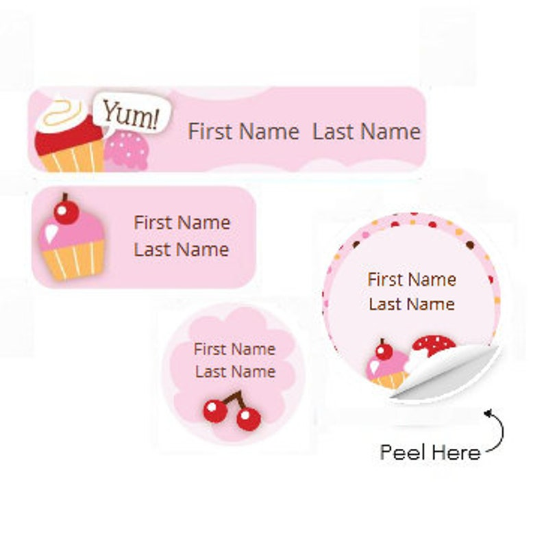 Baby Dummy Pacifier Small or Large Sticky White Paper Stickers Labels NEW