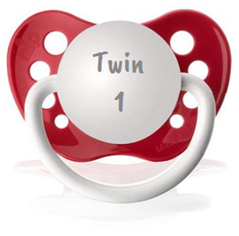 Twin 2 Soother Unique Twin Baby Gift Pregnancy Announcement for Twins Neutral Dummy Set Twin 1 Pacifier Set of Binkys Baby Paci