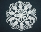 White Crochet Doily, Small Placemat Round Doily, Cotton Pineapple Doily, Wedding Doily, Table Topper, 9 inches