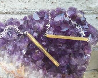 Simple Textured Brass Bar Necklace (Vertical)
