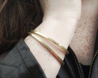 Square Textured Brass Cuff Bracelets