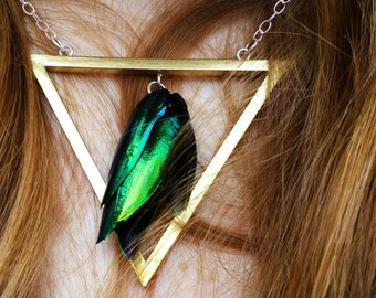 PRIYA Triangle Beetlewing Necklace, Gothic Jewelry, Avante Garde Jewelry, Cosplay necklace, Fantasy necklace, Beetlewing jewelry, taxidermy