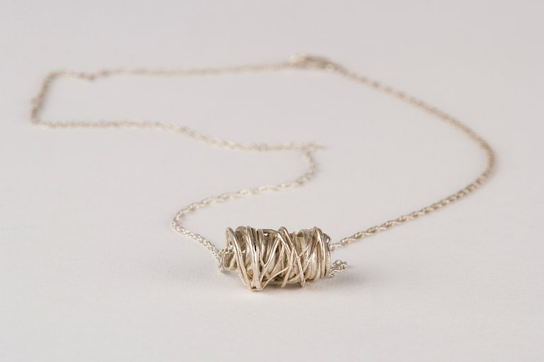 Threads Necklace in Silver or Brass. Silver Necklace. Branch image 0