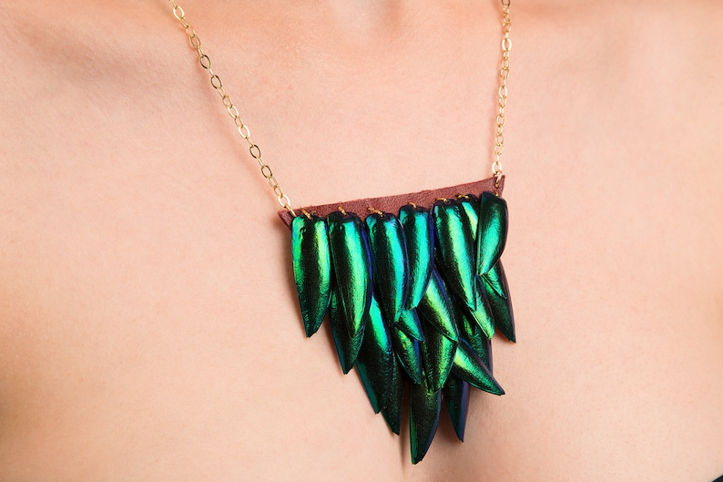 Beetlewing Bib Necklace Small Triangle Elytra Jewelry with image 0