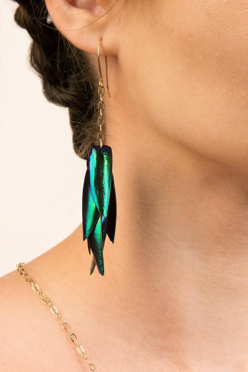 Beetlewing Tassel Chain Earrings. Elytra Jewelry Avante Garde image 0