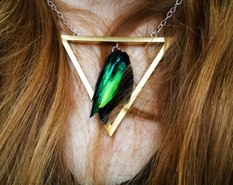 Priya Triangle Beetle Wing Bar Necklace