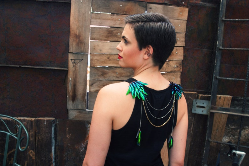 Tarsi Shoulder Necklace and Headpiece. Beetle Wing Jewelry image 0