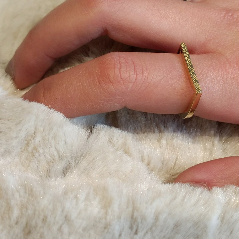 Textured Flat Top Bar Ring. Brass Silver Unisex image 0