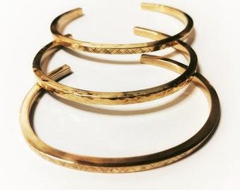 Square Brass Cuffs. Stacking, Adjustable Cuff, Geometric, Alternative Cuff, Hammered Cuff, Minimalist Cuff, Modern, Unisex Bracelet, Slender