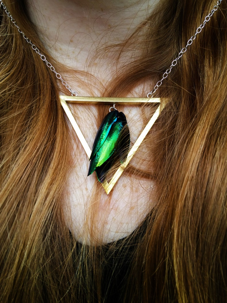 PRIYA Triangle Beetlewing Necklace Gothic Jewelry Avante image 0
