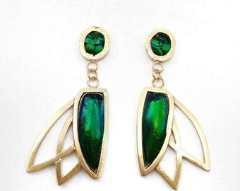 Pinion Earrings. Gothic Jewelry, Avante Garde Jewelry, Cosplay necklace, Fantasy necklace, Beetle wing Earrings, Taxidermy Earrings, Modern