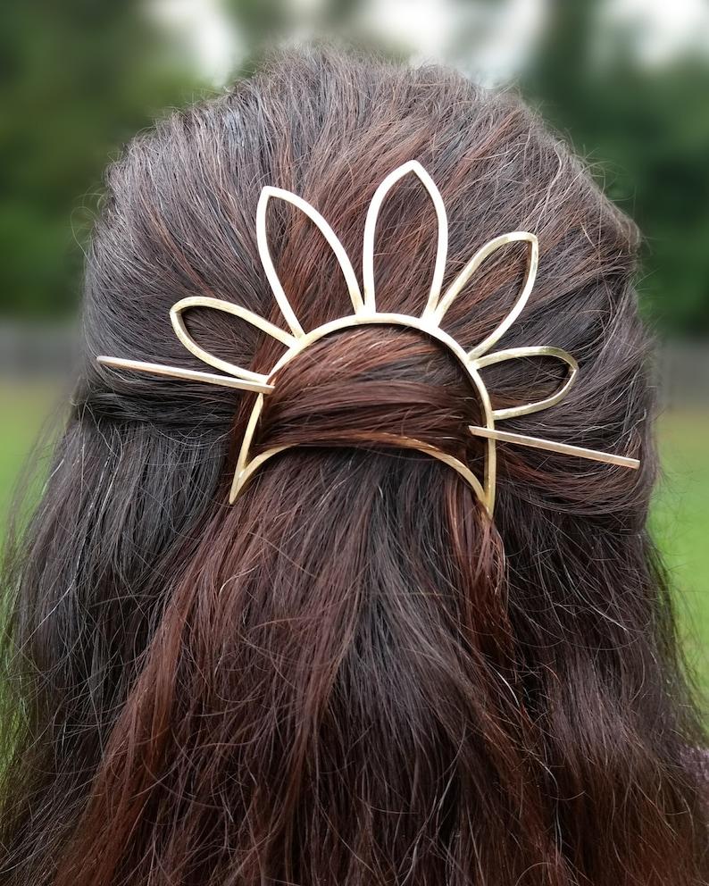 Sun Bun Hair Pin Brass Hair Accessory Flower Hair Pin Gold image 0