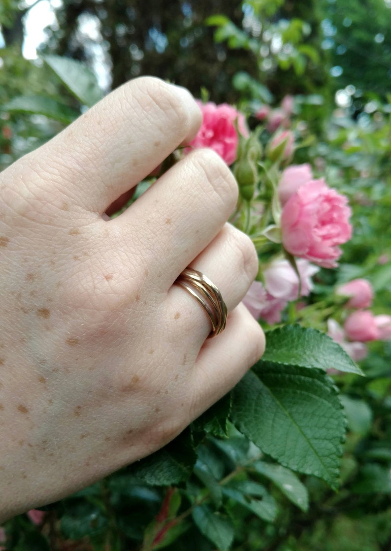 Twisting Branches Ring in Silver or Brass. Silver Branch Ring. image 0