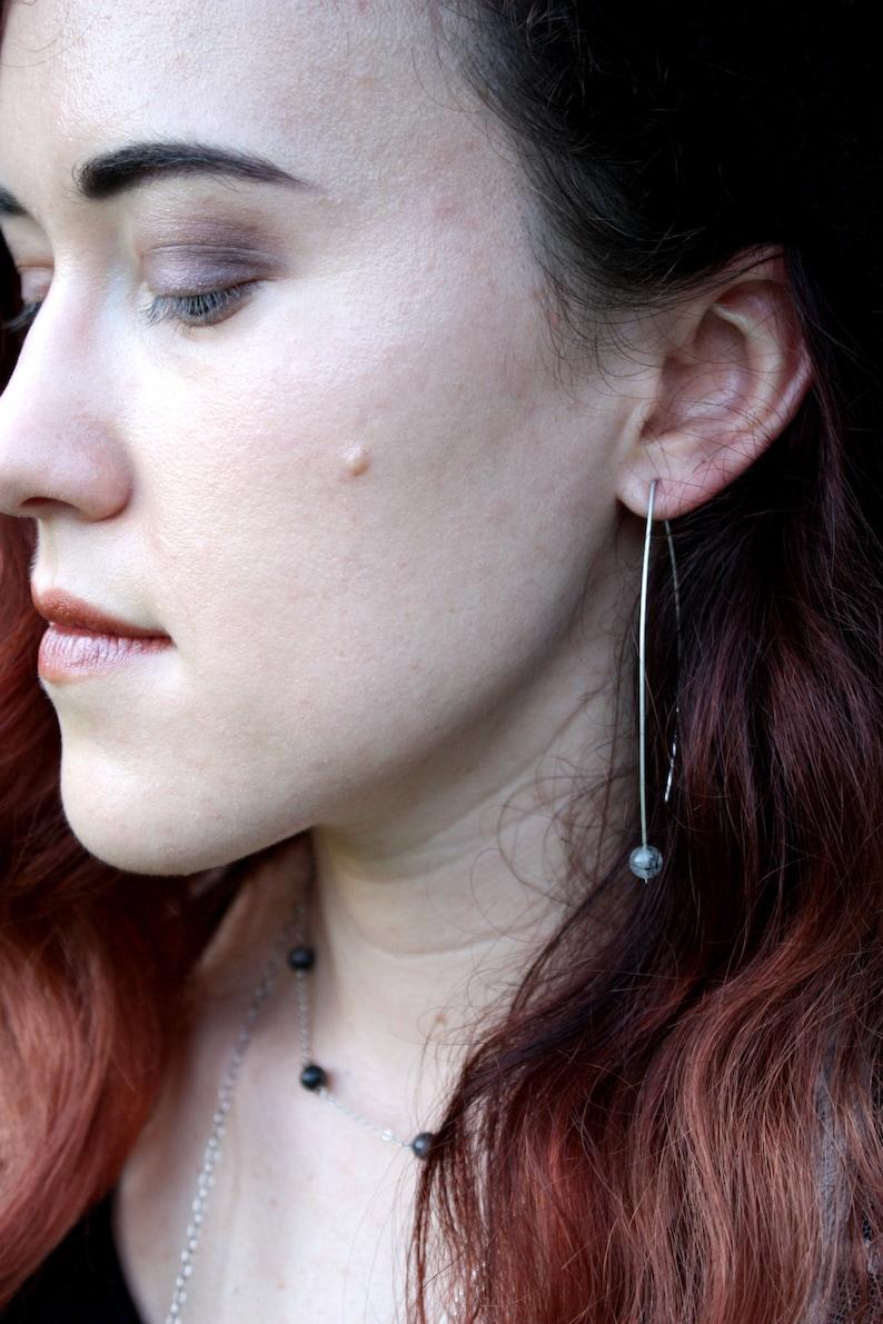 Quartz Sterling Silver Drops. Gemstone Earrings Rose Quartz image 0