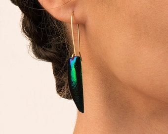 Beetlewing Earrings-Elytra Eqyptian Jewelry, Hypoallergenic Gold Filled Wire