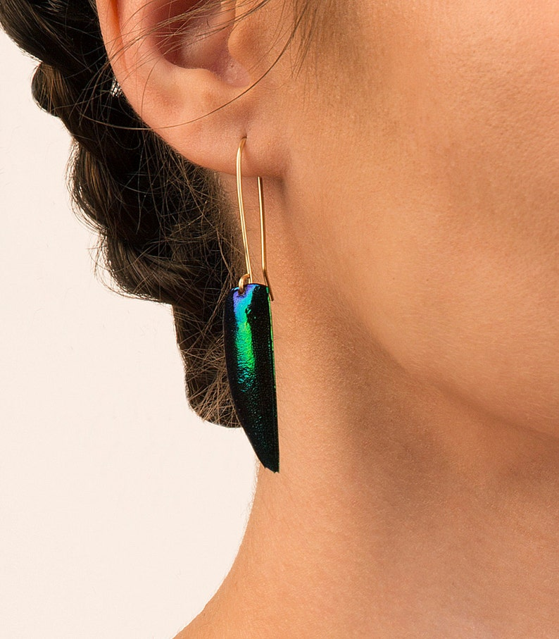 Single Beetle wing Earrings. Elytra Eqyptian Jewelry image 0