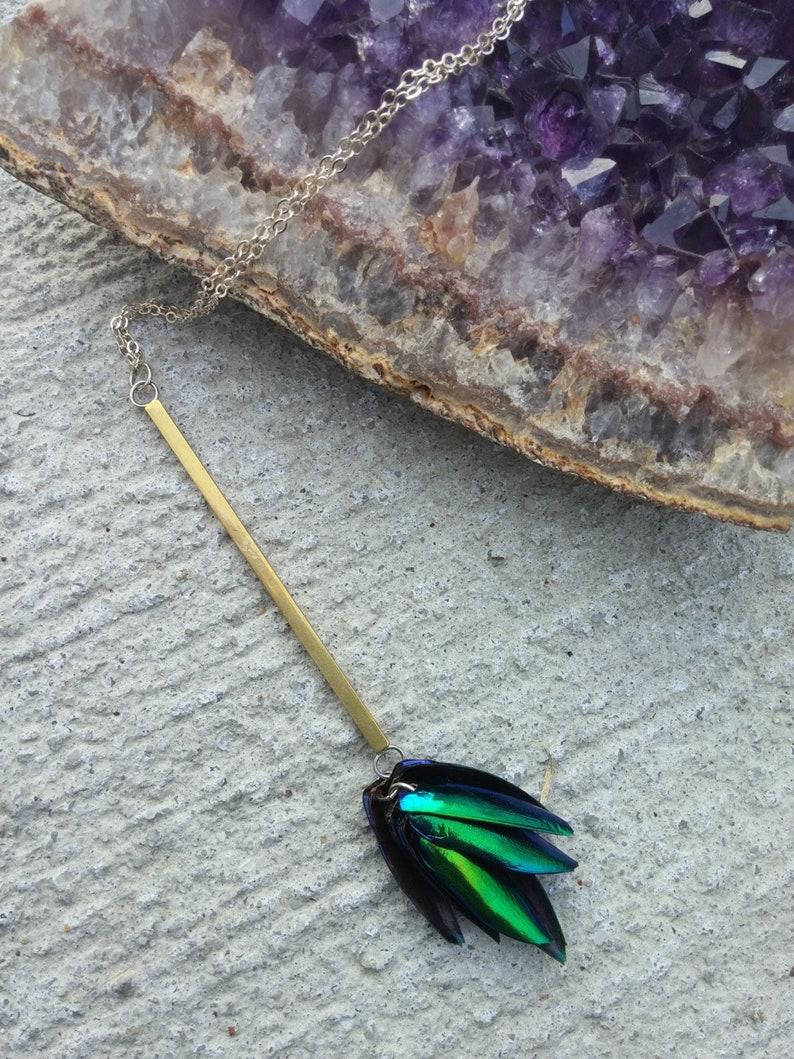 Beetlewing Bar Tassel Necklace. Avante Garde Geometric image 0