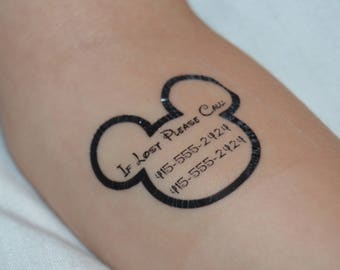 8062a9602a2c0 28 Personalized Mickey Outline Safety/Emergency Contact Temporary Tattoos