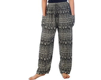 Elephant Hippie Summer Festival Harem Trousers Pants Nepal Fair Trade Black