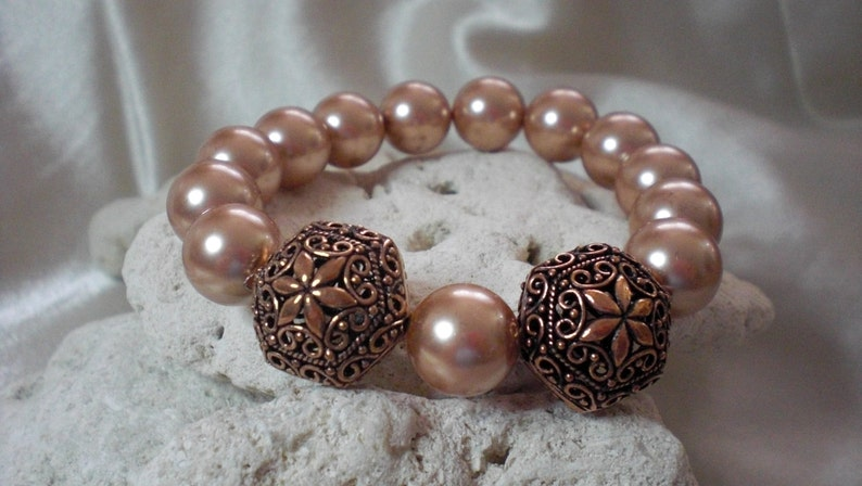 Rose Gold Pearls with Copper Filigree Bead Statement Bracelet image 0