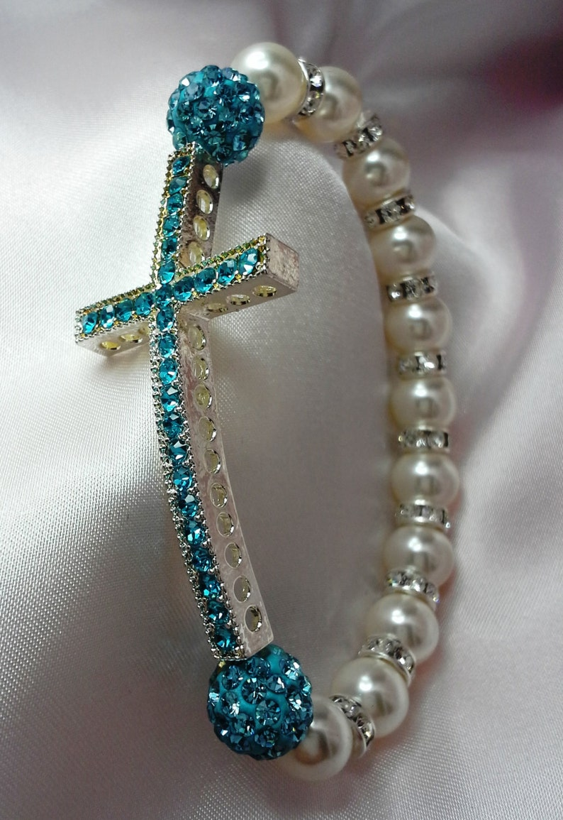 Sideways Cross Turquoise Rhinestone Pearl and Crystal Stretch image 0