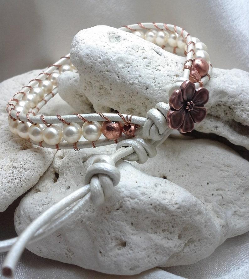 White Pearls on White Metallic Leather Single Wrap Bracelet image 0