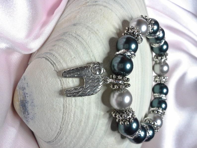 Grey and Tahitian Pearls with Cute Pewter Kitty Charm Stretch image 0