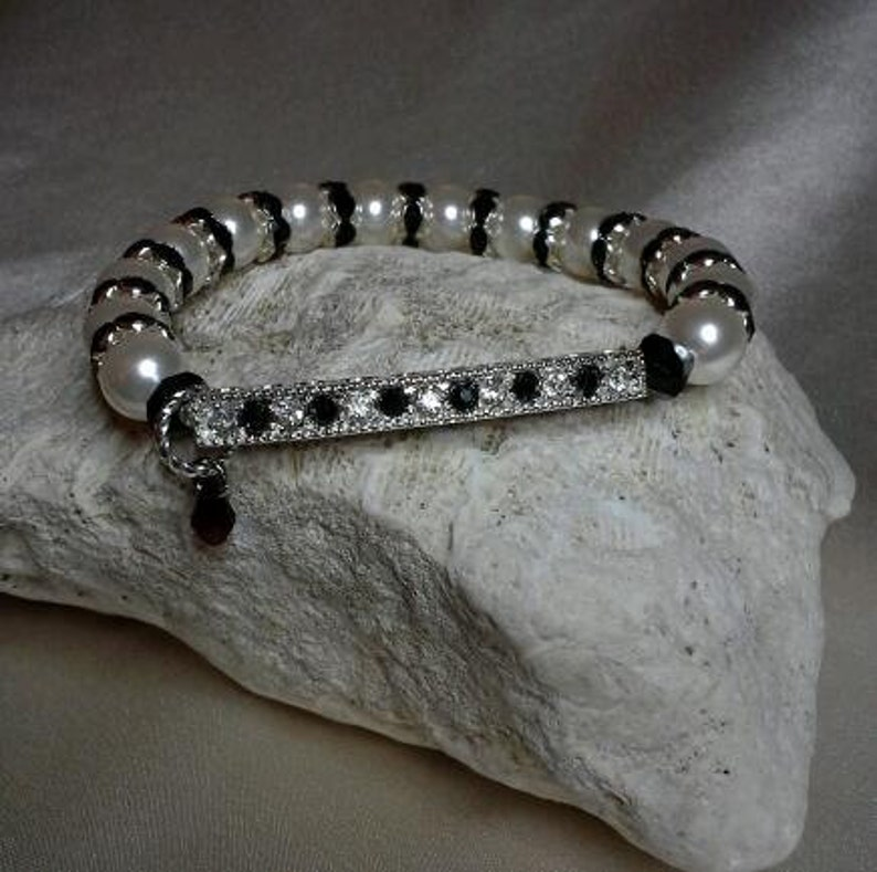 Black and White Rhinestone Bar with Pearls and Crystals image 0
