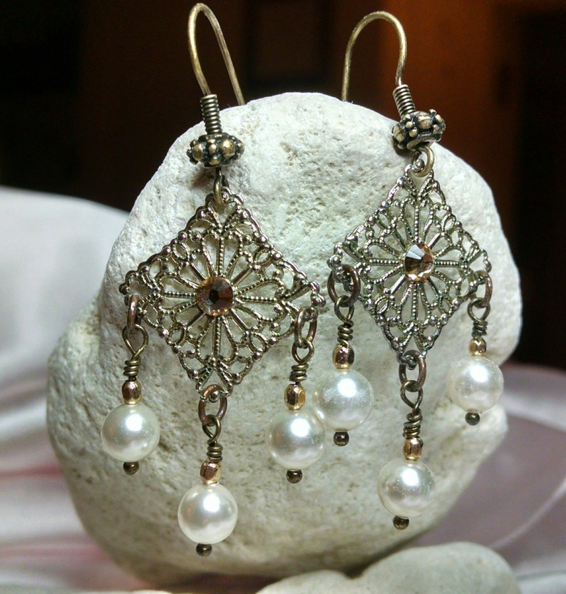 Antique Brass Filigree and Pearl Earrings embellished with image 0